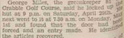 Crabble Golf Club, Kent. Newspaper report from May 1933.