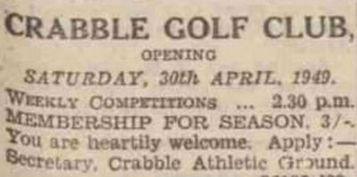 Crabble Golf Club, Kent. The final article found for Crabble Golf Club in April 1949.