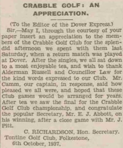 Crabble Golf Club, Kent. Newspaper report from October 1937.