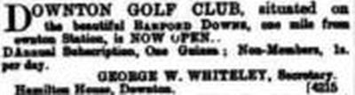Downton Golf Club, Barford Downs, Wiltshire. Advert for the club from July 1907.