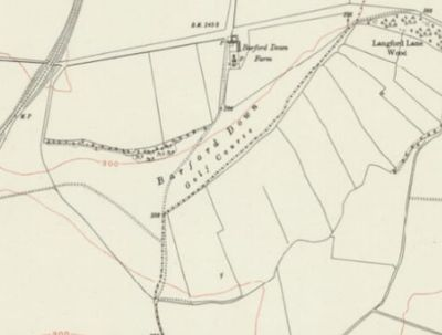 Downton Golf Club, Barford Down, Wiltshire. The golf course on the 1926 Ordnance Survey Map.