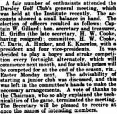 Dursley Golf Club, Gloucestershire. Report on the general meeting in April 1904.