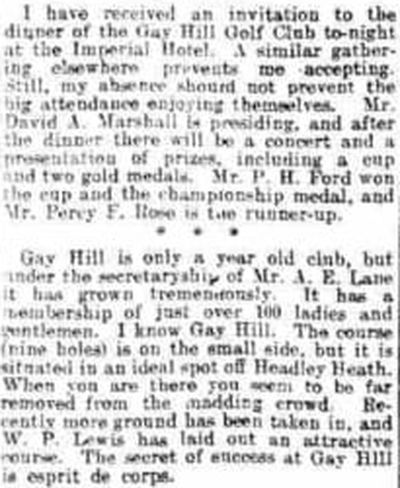 Gay Hill Golf Club, Worcestershire. Report on the dinner at the Imperial Hotel.
