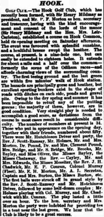 Hook Golf Club, Hants. Report on the opening of the course November 1892.