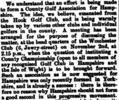 Hook Golf Club, Hants. Report on the forming of the Hampshire Golf Association October 1893.