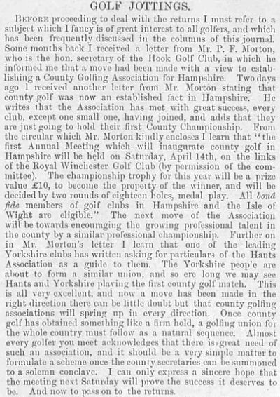 Hook Golf Club, Hants. Report on the forming of the Hampshire Golf Association April 1894.