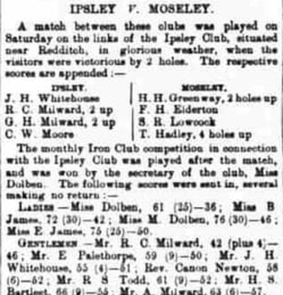 Ipsley Golf Club, Redditch. Competition results from April 1893.