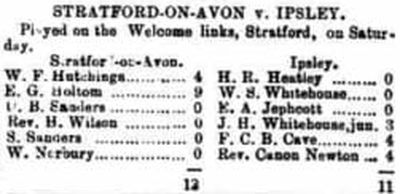 Stratford-on-Avon Golf Club. Match played on the Welcome Links against Ipsley December 1901.