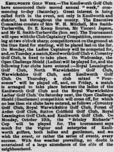 Kenilworth Golf Club, Warwickshire. Arrangements for competitions to be played in October 1892.