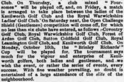 Warwickshire Golf Club. Report mentions a Royal Warwickshire Golf Club.