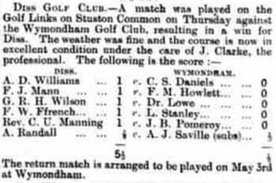 Wymondham Golf Club, Norfolk. Result of a match played at Diss Golf Club in April 1905.